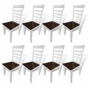 vidaXL Dining Chairs 8 pcs Solid Wood Brown and White
