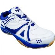 Aryans Men's Macy White Blue Pvc Badminton Sports Shoes
