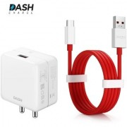 Travel Adapter Charger Dash Charging USB Data Sync Type C Round Cable (100 cm) For One Plus 5/5T/6 (Red/White) 4 Amp