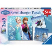 Puzzle Ravensburger - Disney Frozen, 3 in 1, 3x49 piese