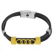 Men style Wristband Charm Geometric Spiral Circle Gold Black Stainless Steel Leather Bracelet