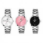 Espoir Analog Stainless Steel Combo Pack of 3 Multi Colour Dial Girl's and Women's Watch - Manisha Combo White Pink Blac