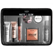 Set Cadou NYX Professional Makeup Jet Set Travel Kit Matte VS Glow 7 Produse