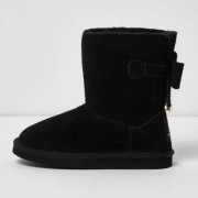 River Island Girls Black suede bow back boots