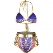 Bikini Traje De Baño Con Impresión Digital /Cuerda De Oro Bling -Doarado