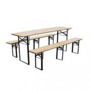 Set mobilier gradina masa si 2 banci Strend Pro Dortmund Standard 175x46x77 cm cadru metal blat lemn
