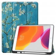 Pattern Printing Tri-fold Stand TPU Leather Smart Tablet Case with Apple Pencil Slot for iPad 10.2 (2019) - Plum Pattern