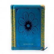 Agenda retro albastra cu model floral central