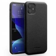 QIALINO Genuine Leather Litchi Texture Phone Back Cover Case for iPhone 11 6.1-inch - Black