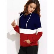 Code Yellow Women's Navy Blue White Red Colour Block Raglan Sleeve Pocket Hoodie Sweatshirt