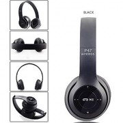 Wireless BOOM Headphones P47 Foldable Headset with Microphone Stereo Earphones 3.5mm Audio Support FM Radio TF Card