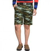 American Noti Green Stretchable Cotton Lycra Slim Fit Men's Checked Shorts(Bermuda)/3/4 th