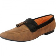 FAUSTO Men's Brown Black Loafers and Mocassins