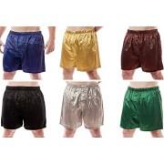 Up2date Fashion Men's 6 Satin Boxer Shorts Combo Pack, Six Boxers, Style MSC-6B01 (Large)