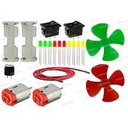 PGSA2Z Basic Motor LED Hobby-Kit - Set of 20 Items In 1 Kit (2 DCMotor+2 Battery Holder+2 Switch+Buzzer+10 Leds+2 Propeller+Wire) (Multicolour)