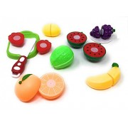 Blossom 11 Pcs Set Sliceable Fruit Basket Toy with Fruits, Knife, Plate and Cutting-Board for Kids