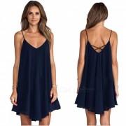 Loose Low-lying halter Strap vestido de las mujeres - Deep Blue (M)