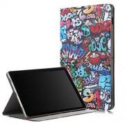 JUNXI Phone Estuche de Cuero con diseño Horizontal y Dibujo de Graffiti para Galaxy Tab S5e T720 / T725, con función de Soporte/Despertador + Muy Recomendable