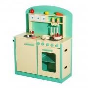 HOMCOM Cucina Giocattolo per Bambini con Accessori in Legno, Verde, 70x30x88cm