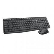 Комплект клавиатура и мишка Logitech MK235, безжични, нископрофилни клавиши, до 10м обхват, USB, черни