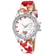 Lava Creation Stylish white RoseHeart Design With Round Dial Girls Wrist Watch For Women(315-white strap rose dil dial)