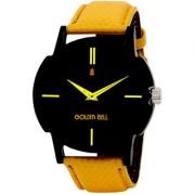 Golden Bell Men'S Yellow Black Round Genuine Leather Strap Wrist Watch (470Gb)