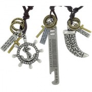 The Jewelbox Hip Hop Punk Anchor Tag Elephant Tusk Cross Bronze Leather Combo Pendant Chain Boys