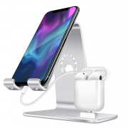 BESTAND 2-in-1 Airpods Charger Dock Phone Desktop Tablet Holder - Silver