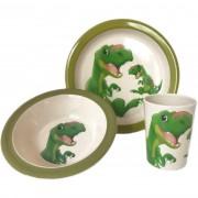 Merkloos 2x 3-delige ontbijtsets bord/kom/beker voor kinderen dino thema wit/groen melamine
