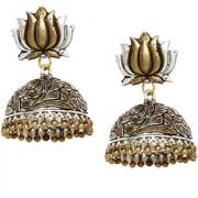 Rubans Oxidised Dual Tone Lotus Nakashi Jhumka Earrings