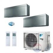 Daikin Duo Split 2.5+3.5 +5.0 kW Stylish Zilver Air Conditioner WiFi R-32 FTXA25AS +FTXA35AS +2MXM50M A+++/A++ 9+12 Btu