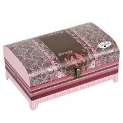 Cottage Garden Paisley Trunk Pink Belle Papier Music Box / Jewelry Box Plays How Great Thou Art