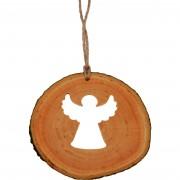 Decoratiune de craciun - Ingeras din felie de lemn New Way Decor