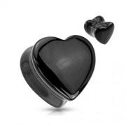 16 mm Double-flared plug zwart hart steen