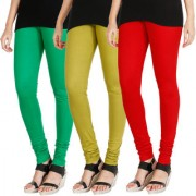 HRINKAR LIGHT GREEN LIGHT GREEN RED Soft Cotton Lycra Plain womens leggings combo Pack of 3 Size - L XL XXL - HLGCMB0580-XL