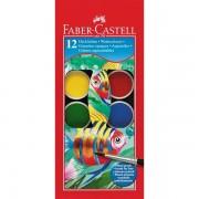 Acuarele + pensula, 12 culori/set, 30mm, FABER CASTELL