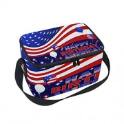 ALAZA Happy Birthday American Flag Insulated Lunch Bag Tote Bag Cooler Lunchbox for Picnic School Women Men Kids