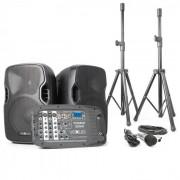 Vexus PSS302, hordozható PA audio rendszer, max. 300 W, bluetooth, USB, SD, MP3, 2 x állvány, 1 x mikrofon (Sky-170.118)