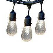 Ghirlanda Luminoasa 15M cu 15 Becuri Bohemia cu LED, E27, 1W, Dimabile, Cablu Negru cu Pendul, Lumina Calda, Conectabila 650M, de Exterior