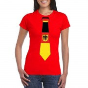 Bellatio Decorations Rood t-shirt met Duitsland vlag stropdas dames XS - Feestshirts