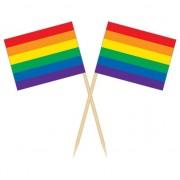 Geen Houten cocktailprikkers regenboog vlag 50x