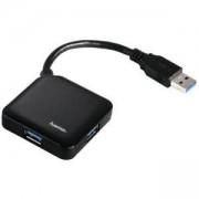 Хъб USB 3.0 HAMA 1:4, захранване, Черен, HAMA-12190