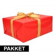 Shoppartners Rood inpakpapier pakket met goud lint en plakband