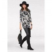 Floral Tunic Sweater Sweaters - Black/Grey