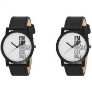 New White Dial And Black Strap Wrist Watches Combo For Boys And Men