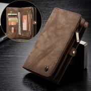 CASEME Vintage Split Leather Multi-slot Wallet Mobile Casing for Huawei P20 Pro - Coffee