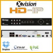 HD IP NVR rekordér pro 4 kamery 1080p - VGA, HDMI, ONVIF