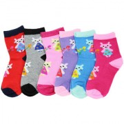 Neska Moda Premium Cotton Ankle Length Multicolor Kids 6 Pair Socks For 7 To 13 Years SK502