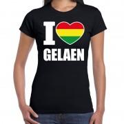 Bellatio Decorations Carnaval I love Gelaen / Geleen t-shirt zwart voor dames