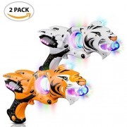 Light up Spinner Tiger Blaster by ArtCreativity (Set of 2), Spinning LED and Cool Sound Effects, 11.5' Toy Guns for Kids, Batteries Included, Great Gift Idea for Boys, Girls (Orange & White)